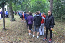 Runners queuing for toilet